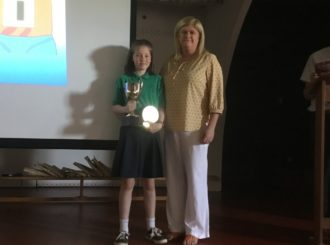 Mrs O'Mullan presenting Sports Girl
