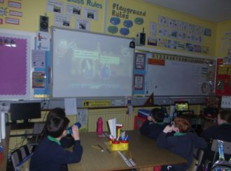 P5 watching a video on looking after their Identity